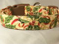 Large Holly Sprays on Ivory Dog Collar