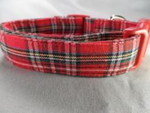 Preppy Red Christmas Tartan Dog Collar rescue me dog collar