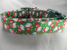 Snowmen on Green Christmas Dog Collar rescue dog collar