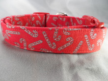 Silver Candy Canes on Red Christmas Dog Collar rescue dog collar
