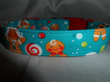 Blue Gingerbread Cookies Christmas Dog Collar