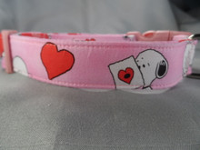 Peanuts Fabric Pink Valentine Dog Collar Rescue Me Dog Collar