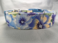 Blue and Yellow Pansy Dog Collar Rescue Me collar