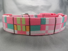 Groovy Pink Plaid Dog Collar Rescue Me Collar