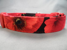 Large Red Poppy Flower Dog Collar Rescue Me Collar