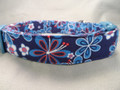 Red White and Blue Patriotic Flower Dog Collar Rescue Me collar
