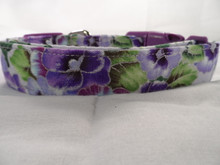 Lilac and Purple Pansy Collar Rescue Me Dog Collar
