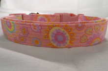 Cute Folk Art Flowers Pink Dog Collar