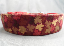 Fall Dog Collar Small Maple Leaves on Red
