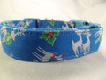 Silver Reindeer on Blue Christmas Dog Collar