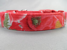 Dog Collar Pretty Red and Pink Poppy Flowers