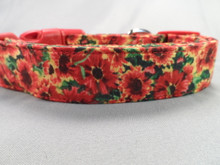 Dog Collar Red Hot Summer Flowers rescue me dog collar