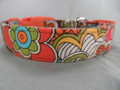 Mod Flower Power Brown Dog Collar rescue me dog collar