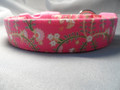 Girl Dog Collar, Hot Pink Flower Scroll