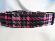Plaid Dog Collar Pink and Black Plaid Dog Collar Rescue Me Collar