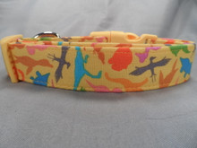 Dinosaur Dog Collar Yellow with Colorful Dinosaurs