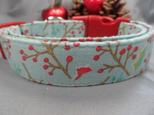 Winter Dog Collar, Winter Berry Dog Collar, Blue Rescue me collar