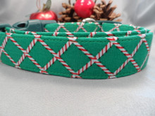 Christmas Plaid Dog Collar, Harlequin Peppermint Plaid Rescue me collar