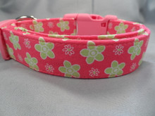 Girl Dog Collar, Pretty Pink and Green Flowers Rescue Me Collar