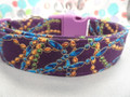 Mardi Gras Dog Collar Beads on Purple Rescue Me Dog Collar
