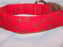 Brown Paw Prints on Red Dog Collar