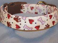Paw prints Hearts and Dog Bones on Cream Collar