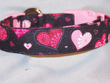 Patchwork Hearts on Black Valentine Dog Collar Rescue Me Collar