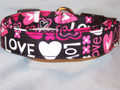 Love and Hearts Dog Collar in Pink and Black