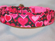 Rows of Pink Hearts Valentine Dog Collar  Rescue Me Collar