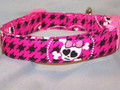 Hot Pink Herringbone with Skull and Crossed Bones Dog Collar