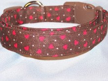 Brown with Small Red Hearts Valentine Dog Collar