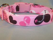 Chocolate Brown and Pink Hearts Dog Collar