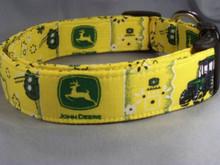John Deere Licensed Fabric Yellow Dog Collar