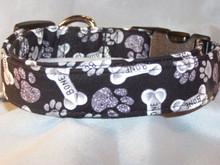 Paw Prints and Bones on Black Dog Collar