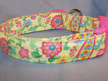 Bright Yellow with Flowers Paisley Dog Collar rescue Me dog collar