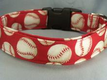Baseball Dog Collar on Red