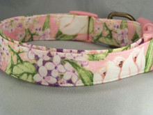 Lilacs and Tulips on Pink Dog Collar Rescue Me Collars