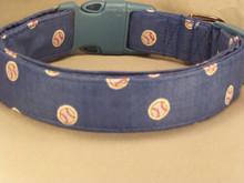 Small Baseball Print on Blue Dog Collar