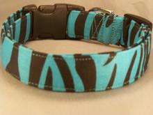 Turquoise Blue Zebra Stripe Dog Collar