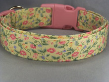 Bright Little Flowers on Yellow Dog Collar