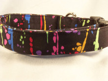 Cool Colorful Spatter Paint on Black Dog Collar