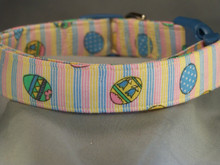 Easter Eggs on Pastel Stripes Dog Collar