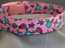 Ladybugs and Flowers on Bright Pink Dog Collar