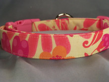Hot Pink and Orange Flowers on Yellow Dog Collar Rescue Me Collar