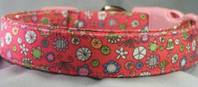 Flowers on Salmon Pink Dog Collar