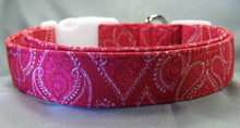 Red Paisley Damask Print Dog Collar