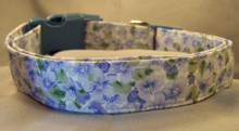 Blue Violets Dog Collar Rescue Me Collar