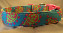 Bright Summer Paisley on Blue Dog Collar