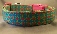 Rows of Summer Flowers on Blue Dog Collar