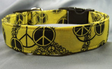 Black Peace Signs on Yellow Dog Collar